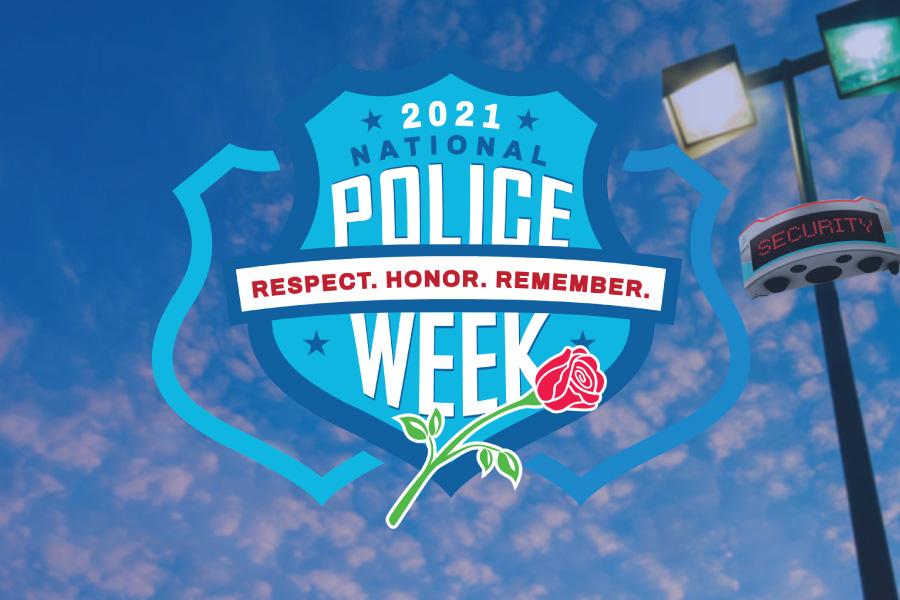 2021 Police Week logo with RAD ROSA on a light pole.