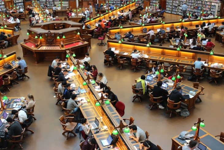 Students at a library