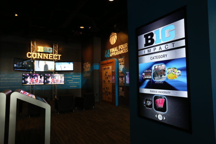 Interactive screen at the Big Ten Experience in Rosemont, IL.