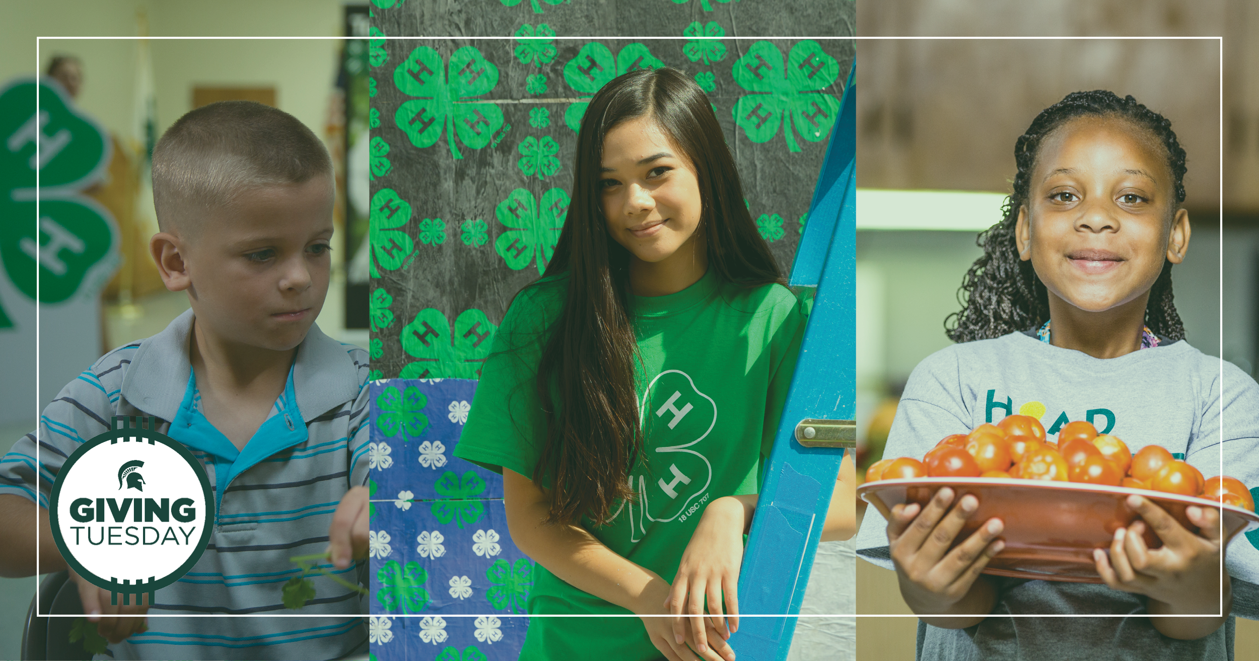 Giving Tuesday image with three 4-H youth