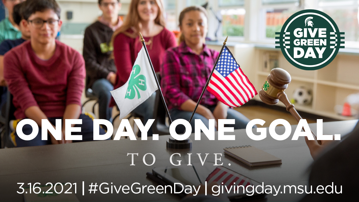 One Day. One Goal. To Give. 3.16.2021. Give Green Day. givingday.msu.edu