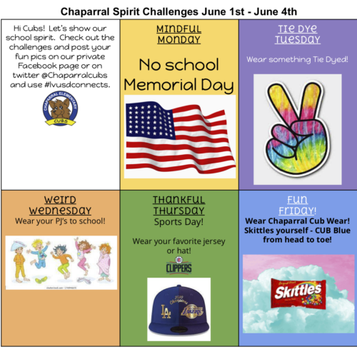 Save the Date for Last School Spirit Week – June 1st-4th
