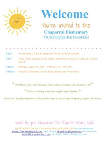 TK/Kindergarten Breakfast