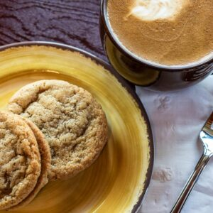 Nutbutter Cookie Sandwiches and Hot Espresso
