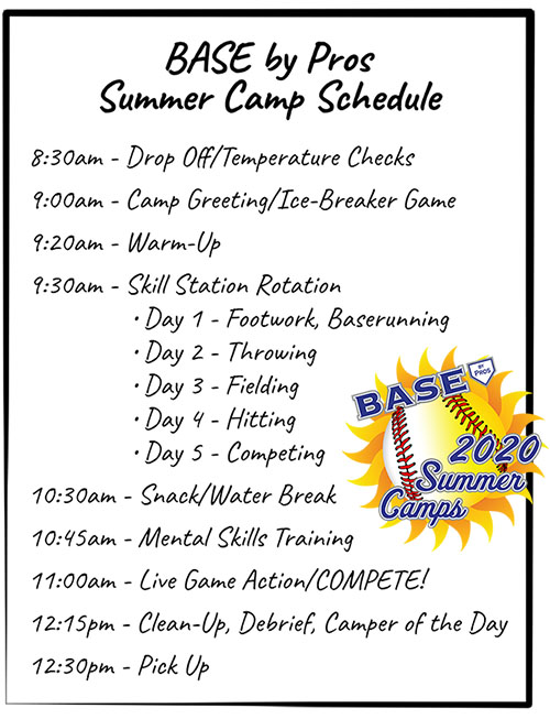 BASE by Pros 2020 Summer Camp Schedule