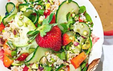 Romantic Strawberry Pistachio Salad Nutraphoria
