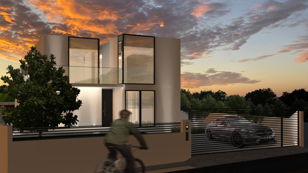 Simulação tridimensional da fachada principal