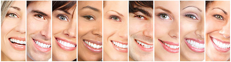 Happy people laughing faces collage. Close-up smile portrait.