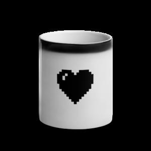 black pixel heart mug