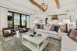 a photo of the living room and kitchen from the WP Land Company Benjamin at 2019 Kensington of Mason Homearma