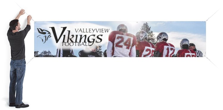 Banner displaying valleyview football players