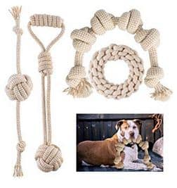 FONPOO Dog Toys for Aggressive Chewers, Natural Cotton Rope -dogspeaking.com