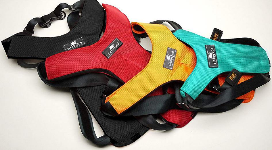 Sleepypod dog harnesses in various colours