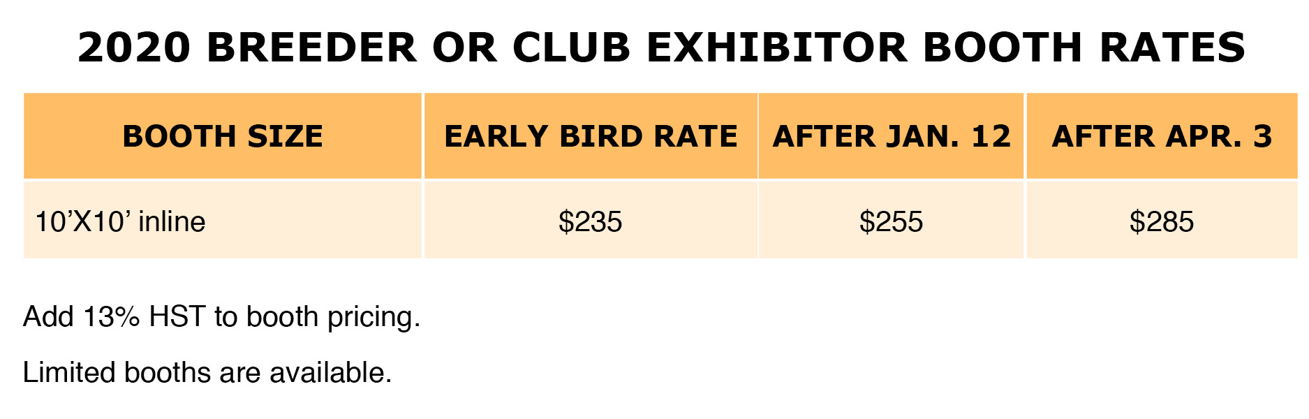 2020 Club or Breeder Booth Rates