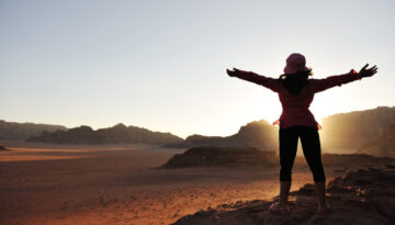 Freedom, girl, desert, sunset, beautiful scene
