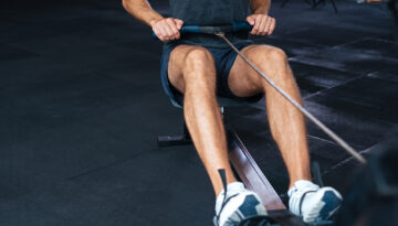 Cropped portrait of fitness man doing exercise