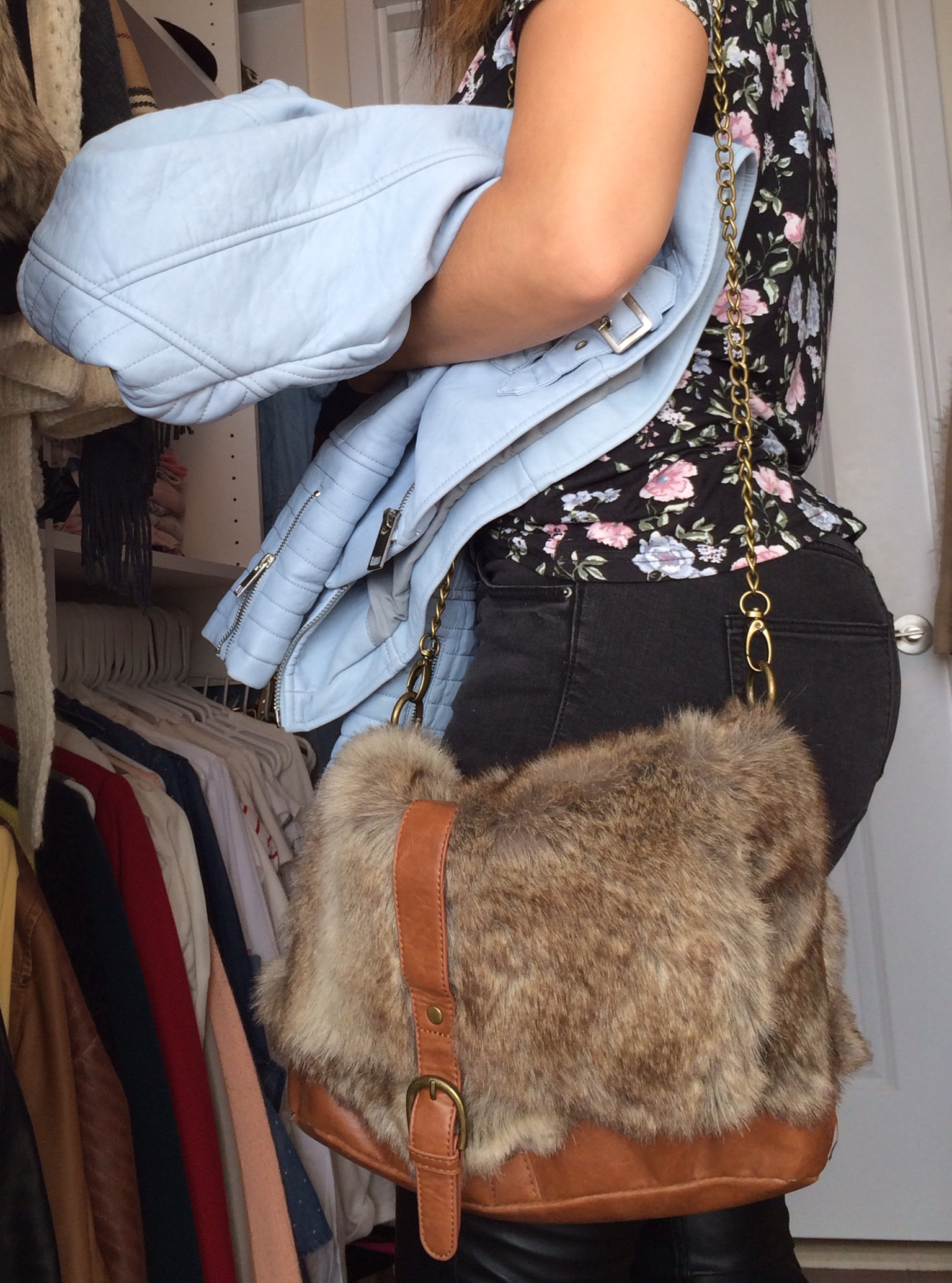 baby-blue-leather-heart-hat-leather-pant-fur-purse-3
