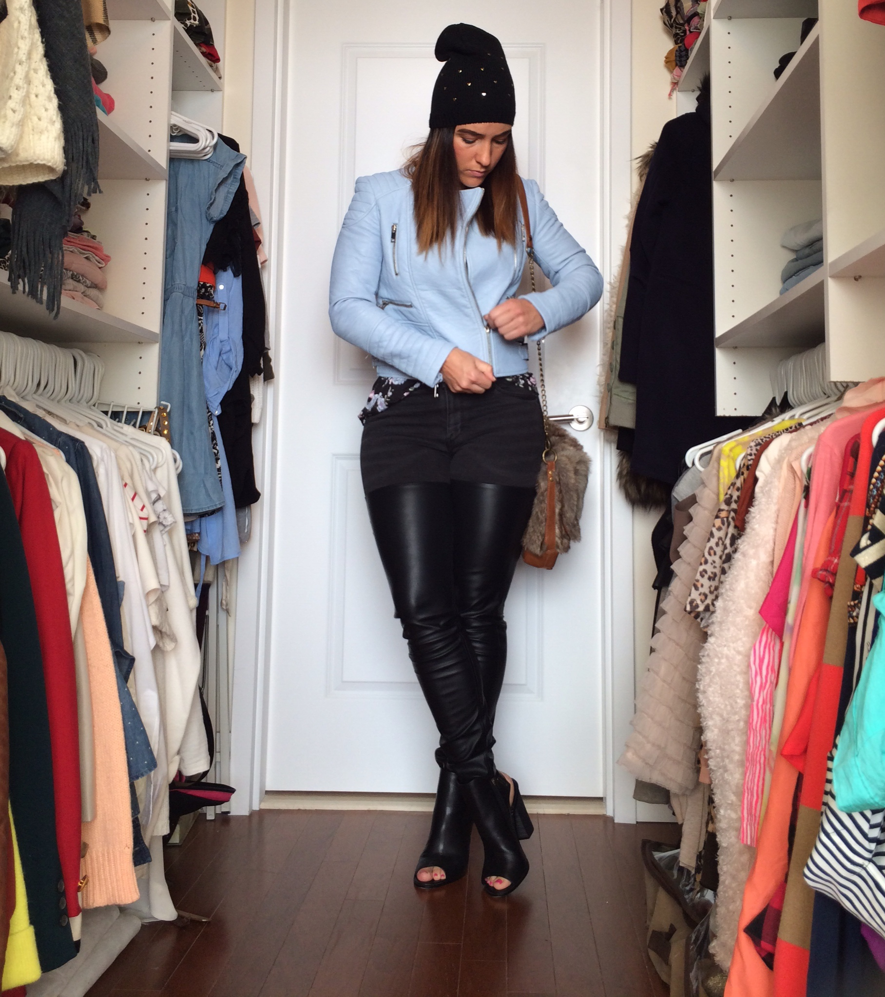 baby-blue-leather-heart-hat-leather-pant-fur-purse