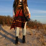 aztec printed shawl and fur
