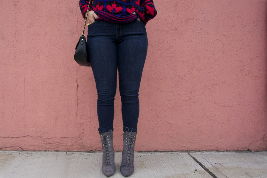 gray lace up booties and jeans