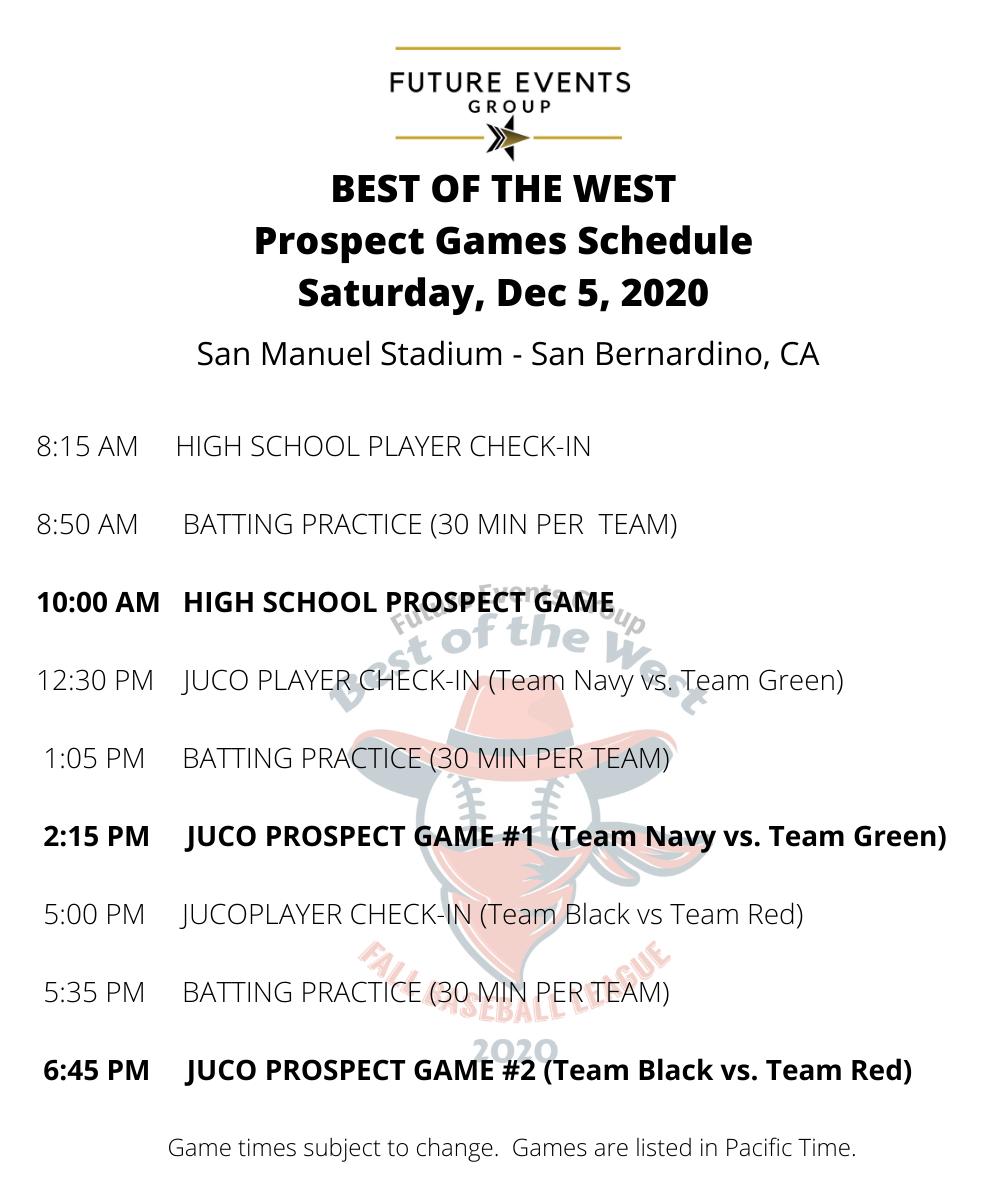 Prospect Game Schedule - Saturday, Dec 5, 2020