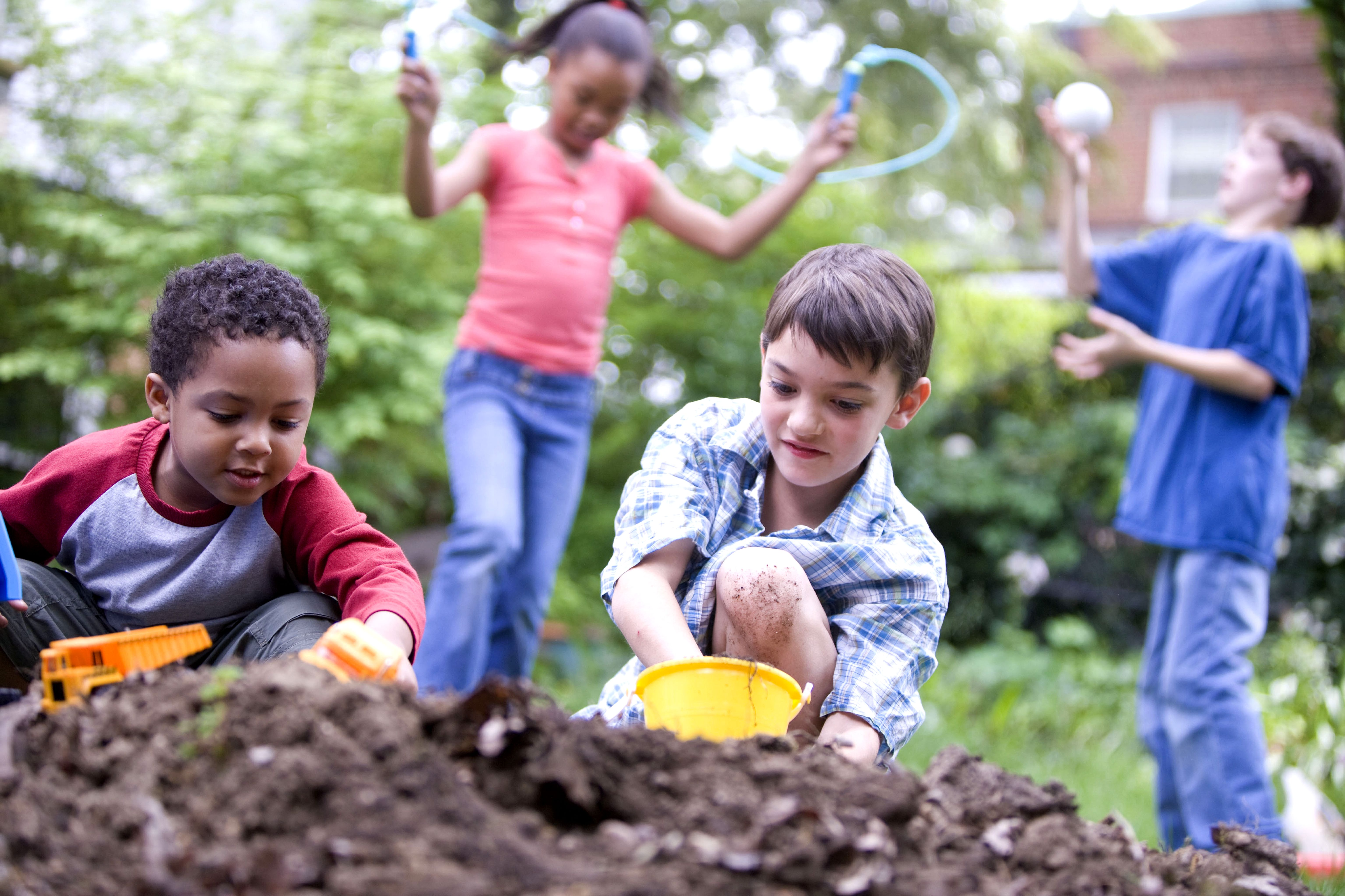 Children playing with dirt