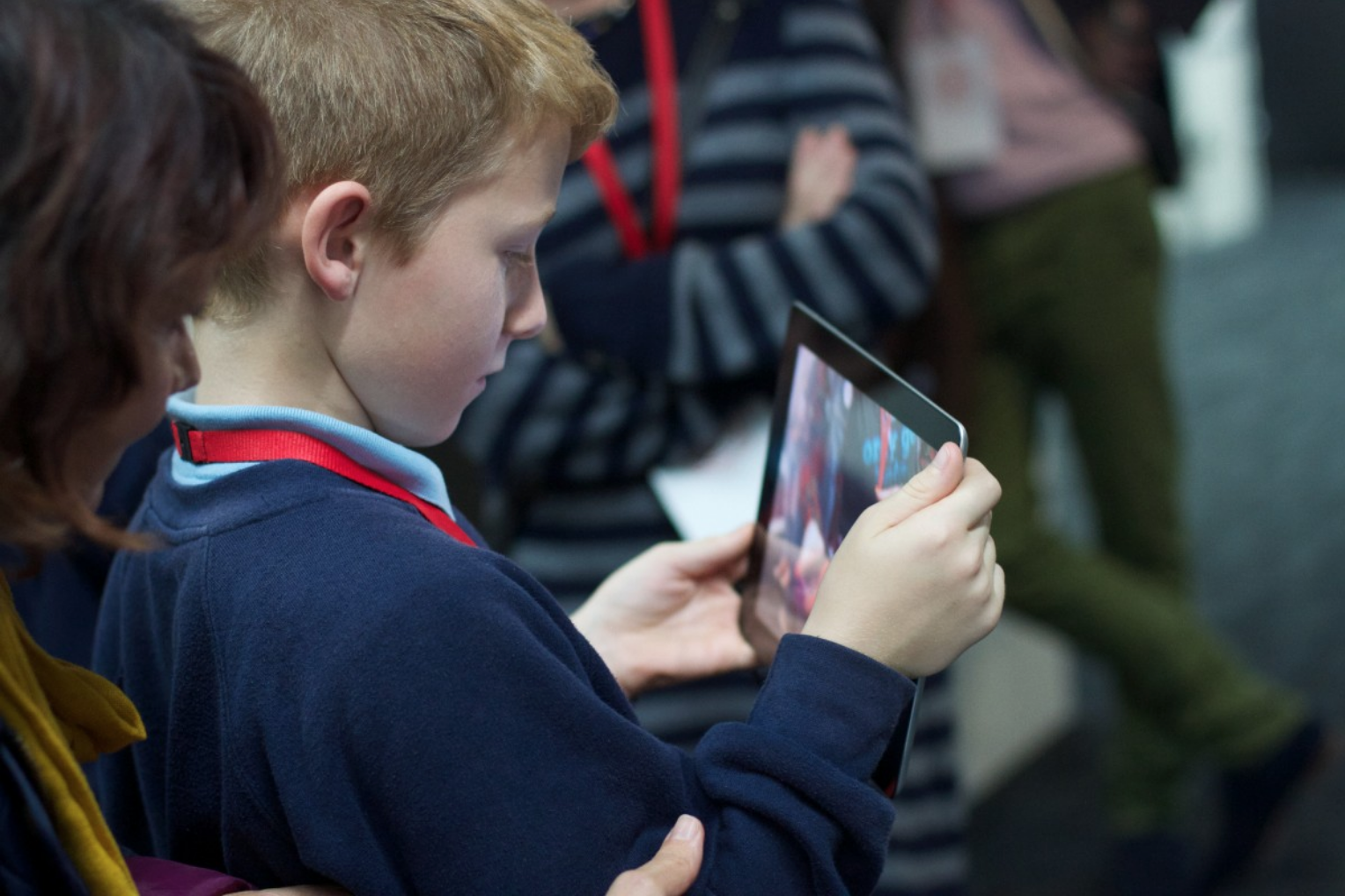 A boy on an iPad