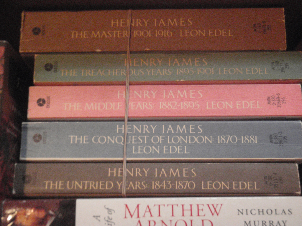 Picture of five-volume Henry James biography by Leon Edel