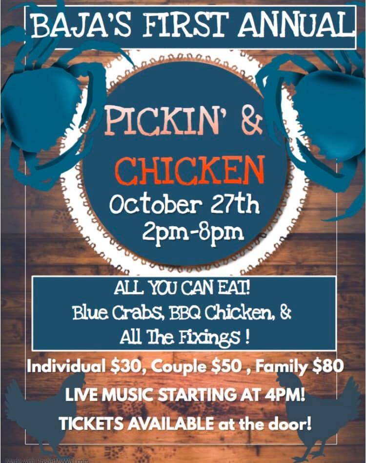 Baja's Pickin' & Chicken is Oct. 27th