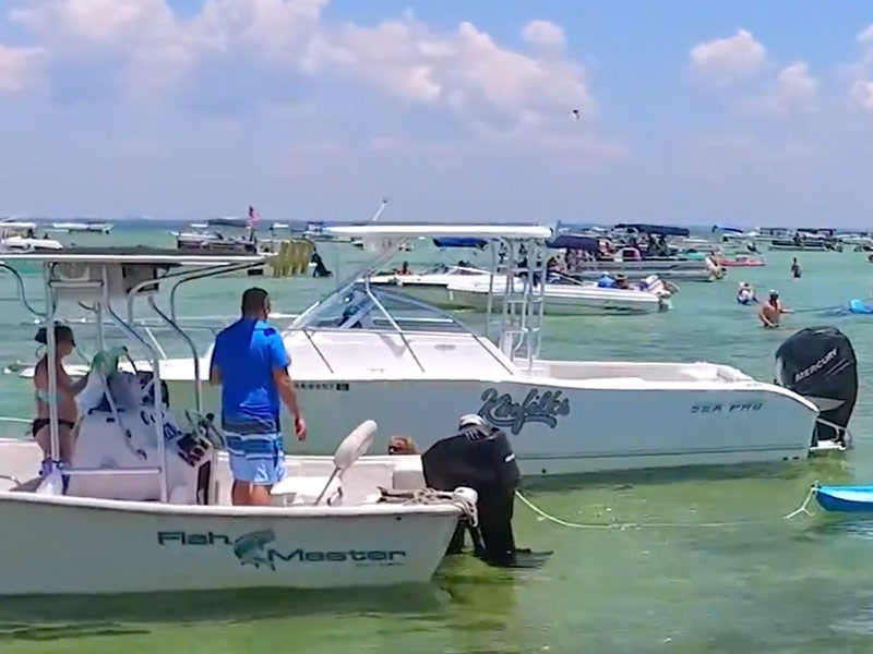 Boaters at Crab Island Destin Florida
