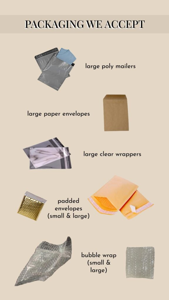 Types of packaging accepted by Package Pals (image credit : Package Pals)