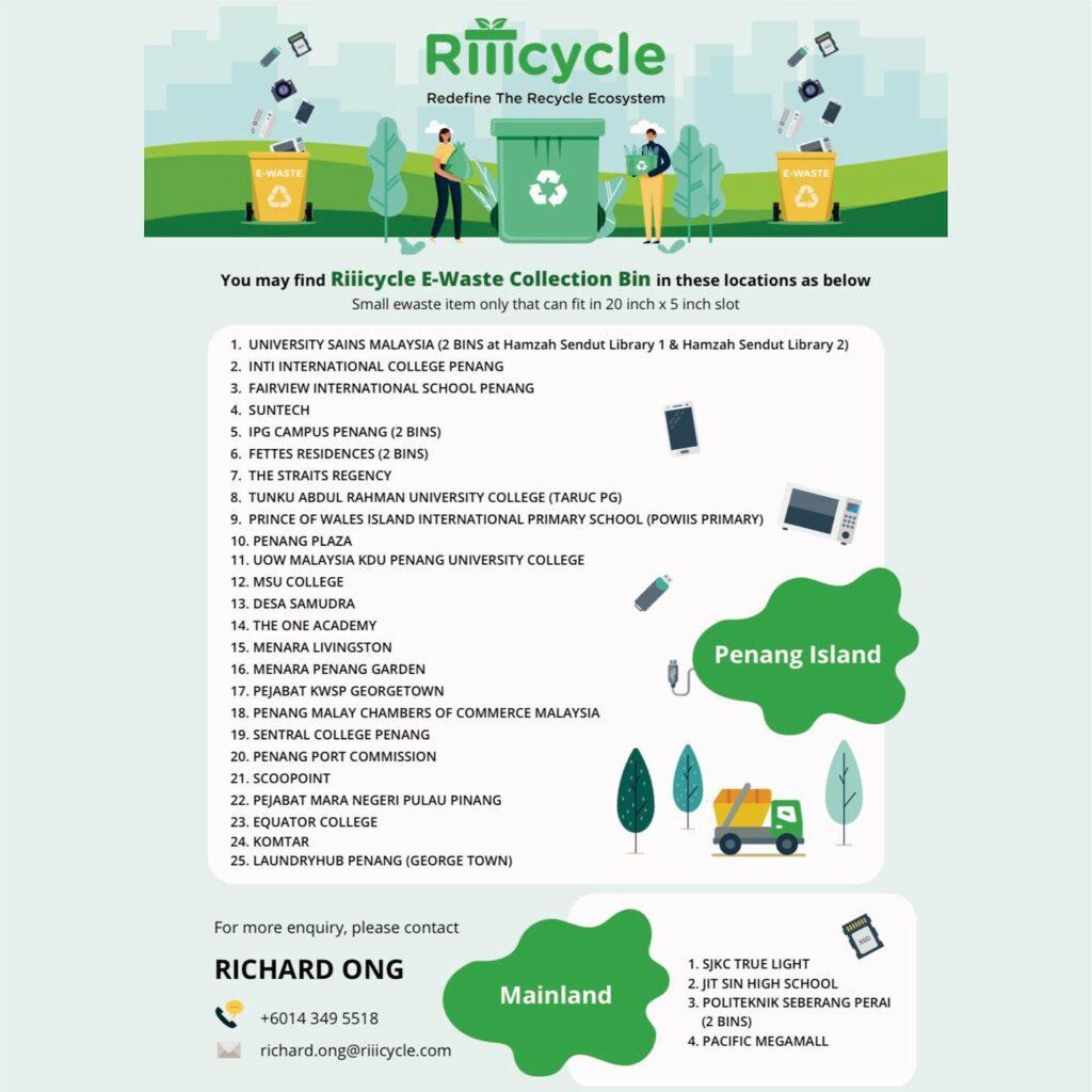 Riiicycle E-waste Collection Bin around Penang Mainland (image credit : Riiicycle App)