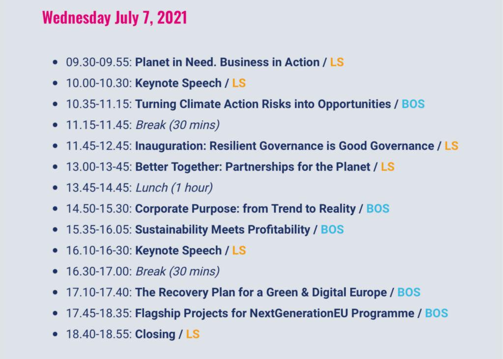 B for Planet Agenda 7 July 2021