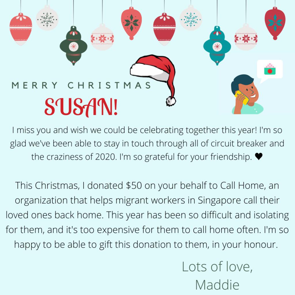 CallHome.Sg Christmas Campaign E card Sample | ChangeMakr Asia