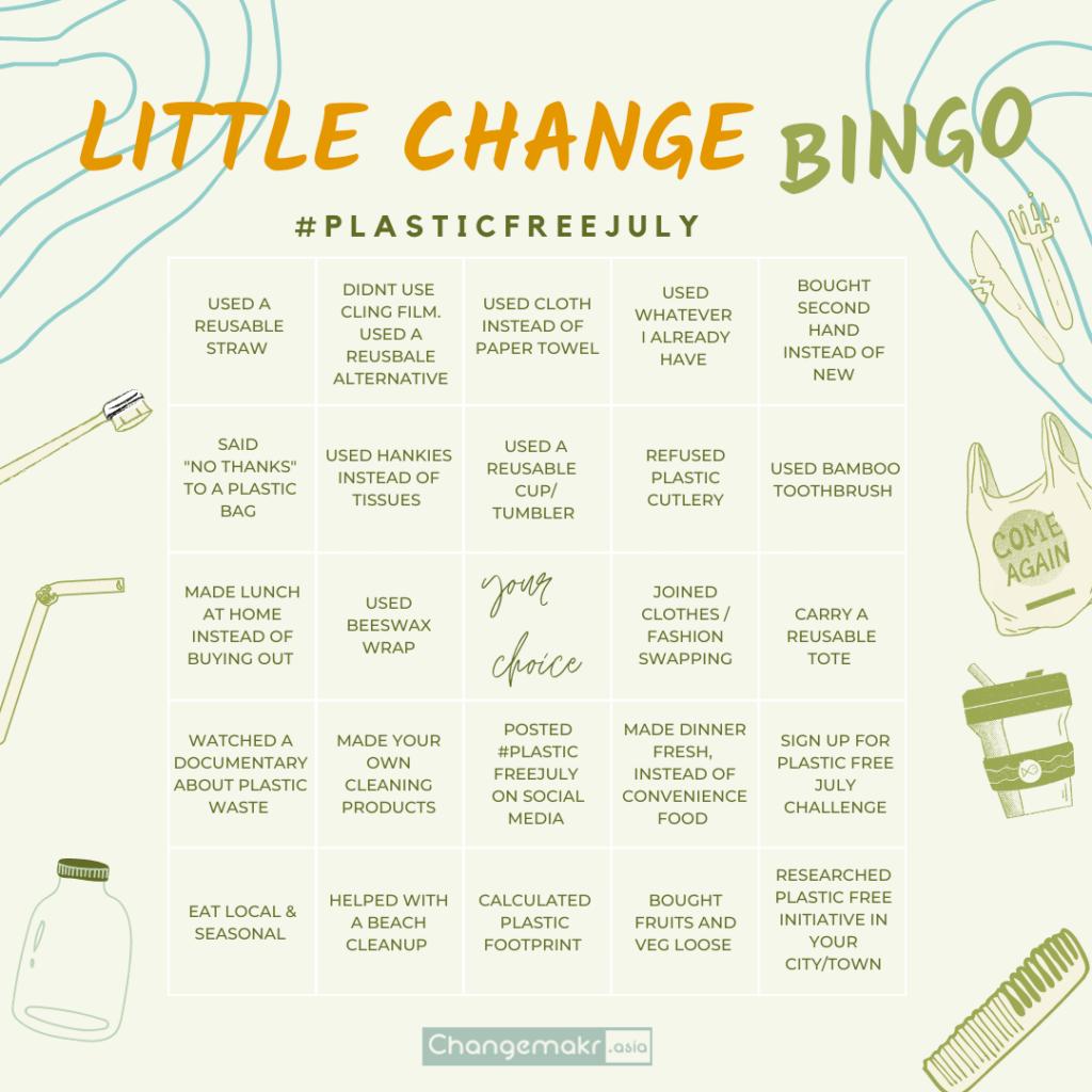 Plastic free July bingo