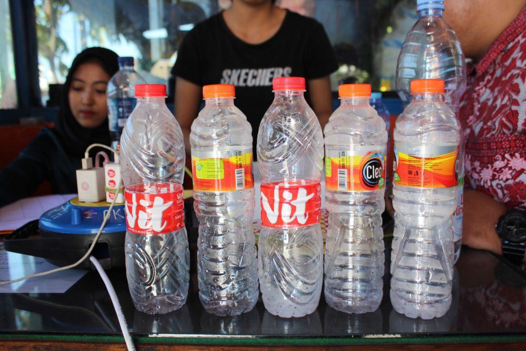plastic bottles exchange at bus station