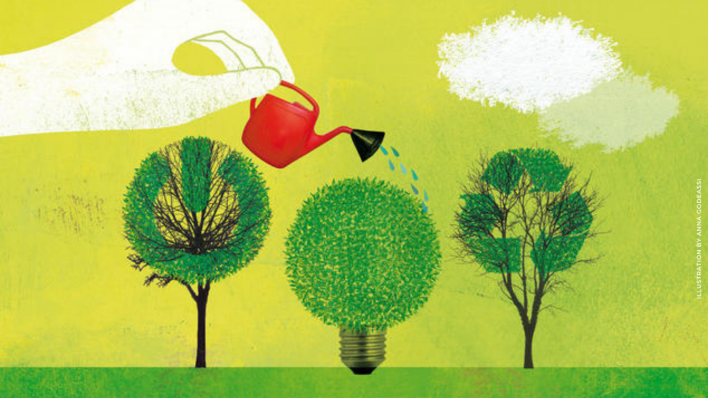 working towards carbon neutral (illustration by Anna Godeassi)
