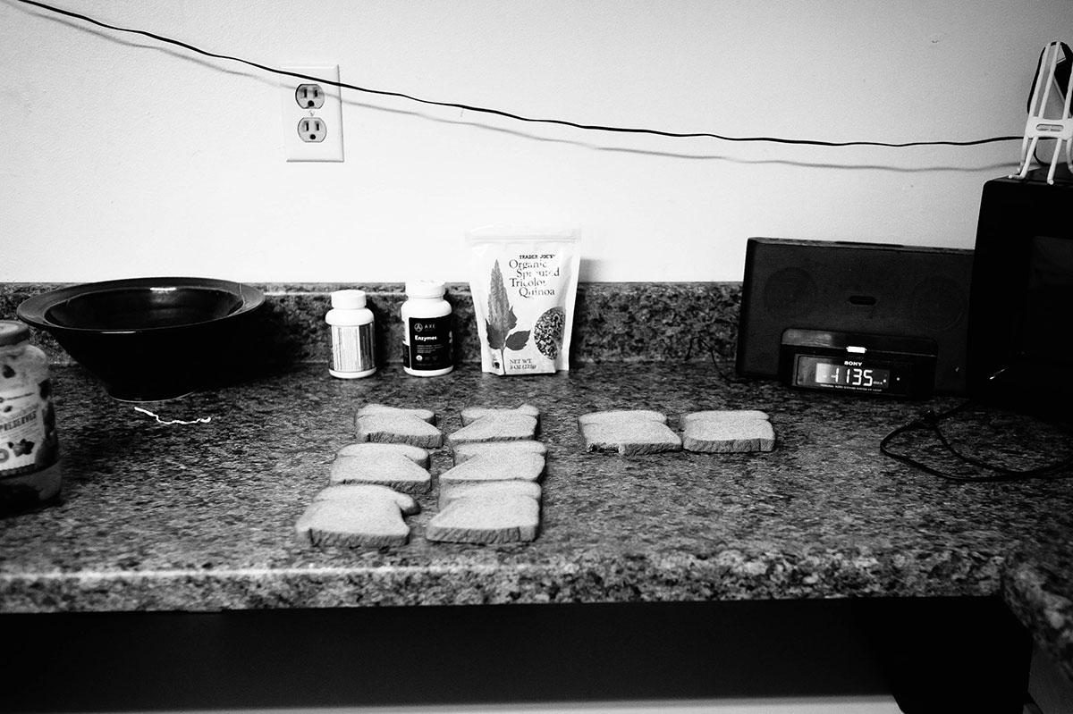 peanut butter sandwiches lined up