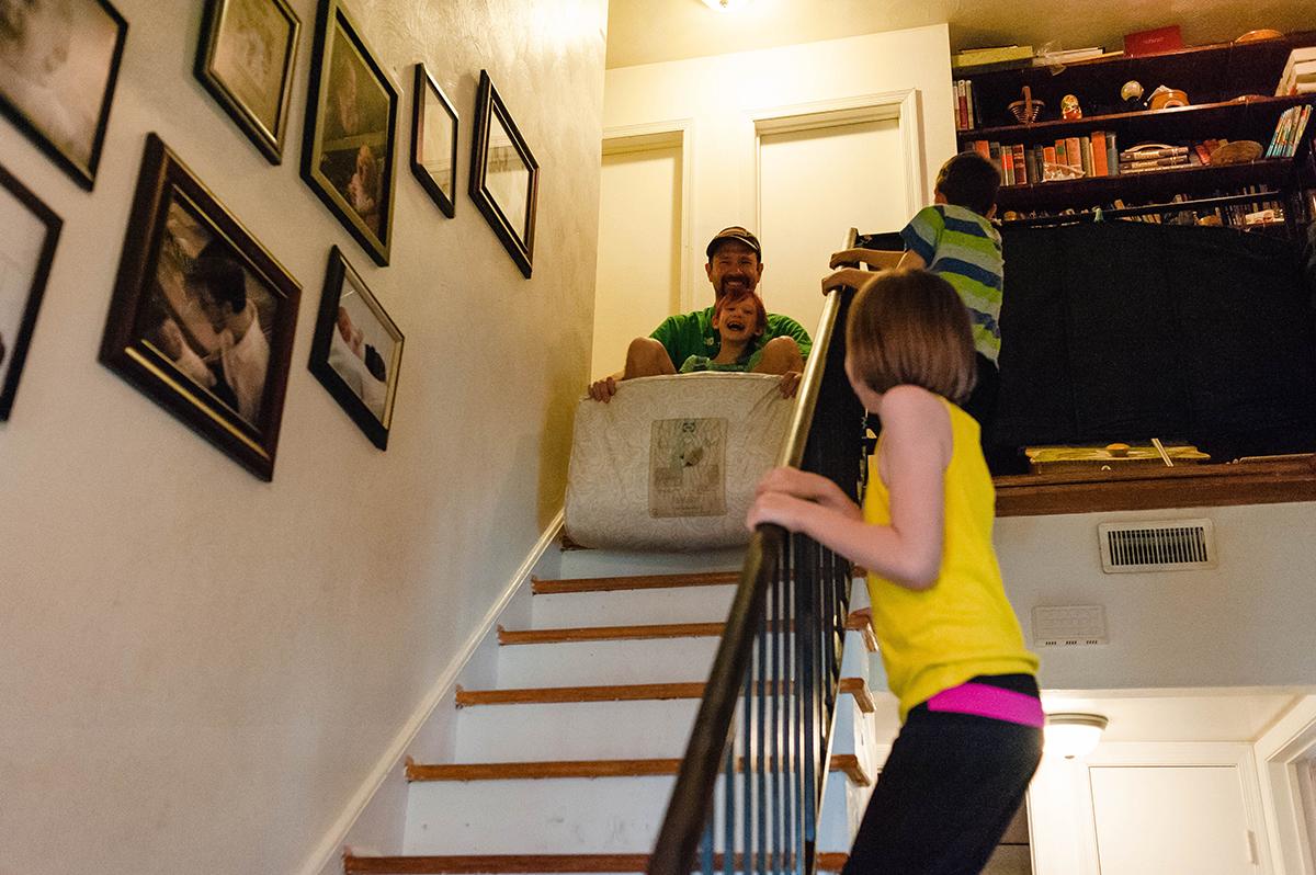 riding mattress down stairs