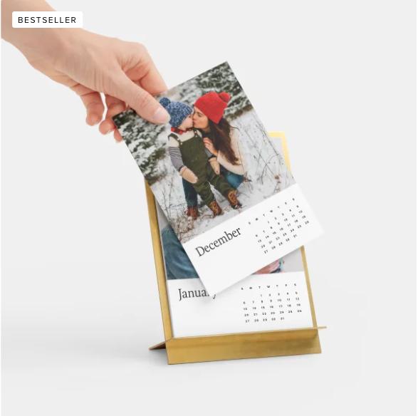 Brass easel and calendar