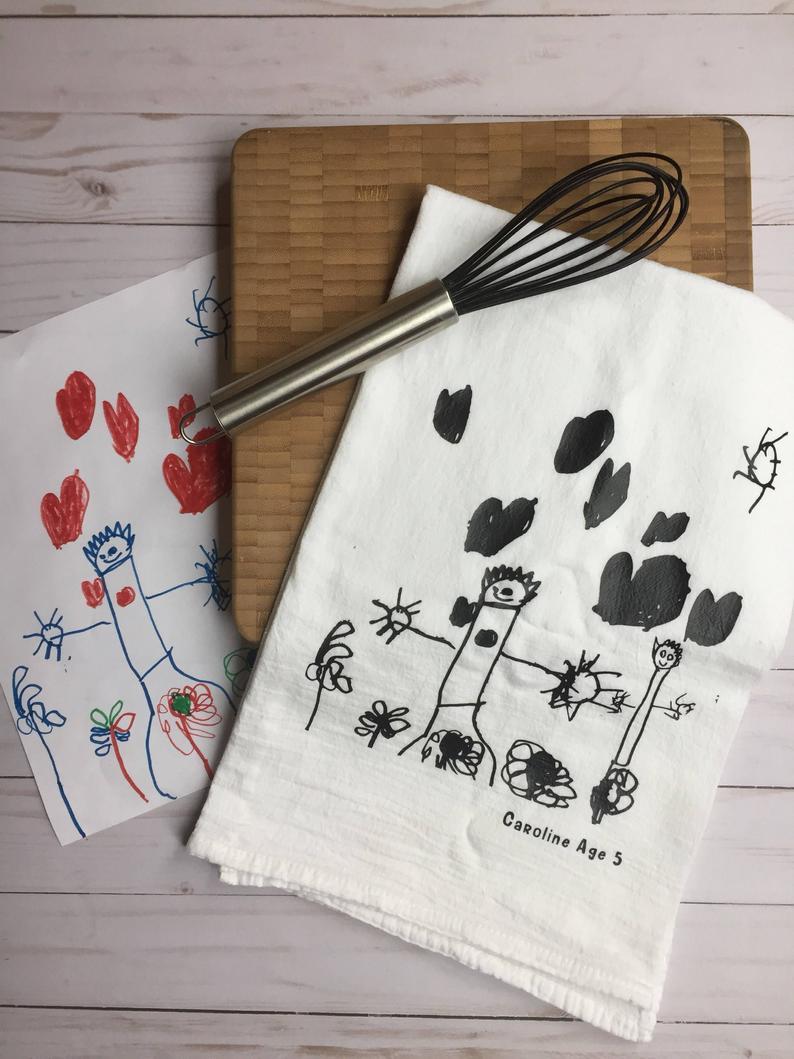 Childhood drawing tea towel