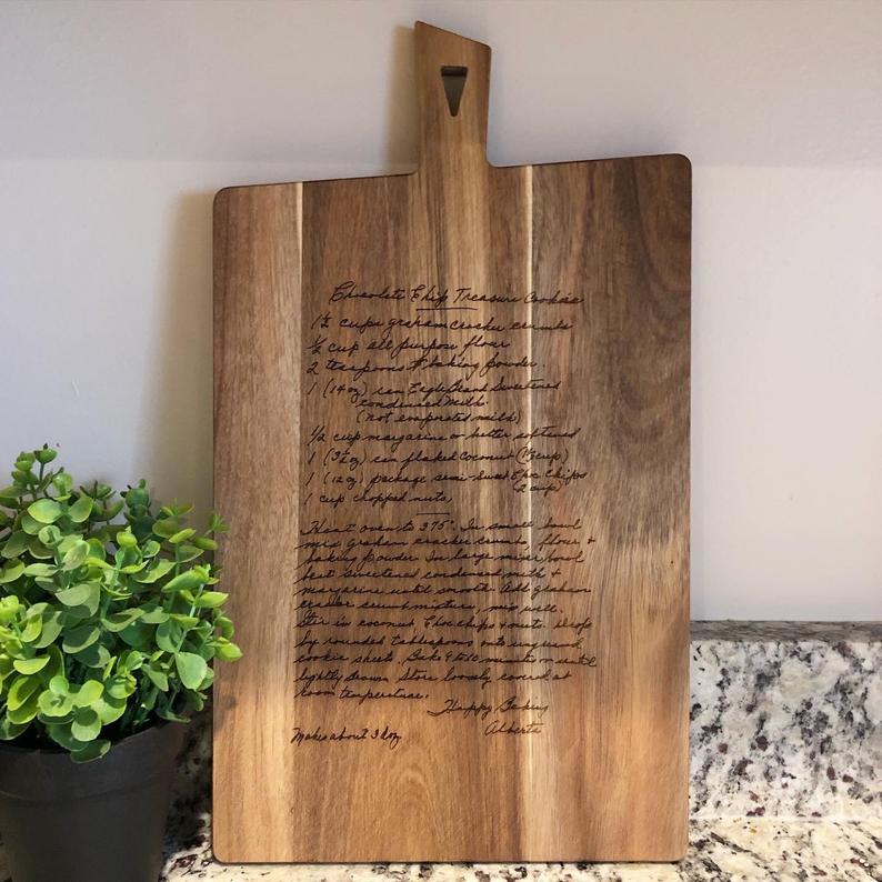 laser engraved handwritten recipe cutting board