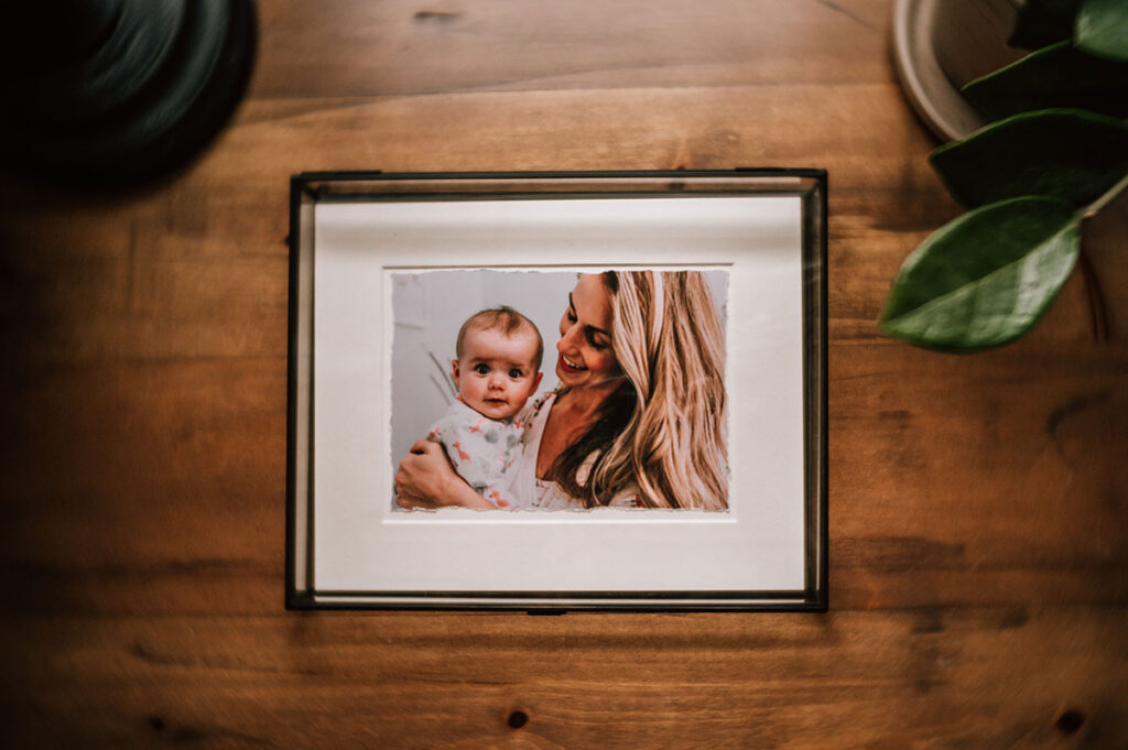 family photo in glass box