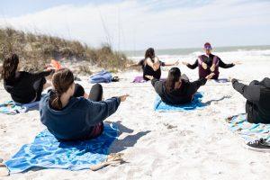 Women doing yoga on a retreat