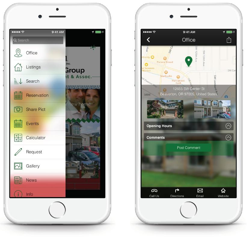 Real Estate App - Pus Menu Map