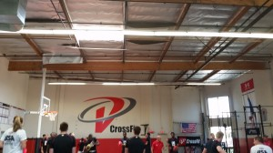 College athletes warm-up with hand balls at Velocity Cross Fit - Los Angeles, California