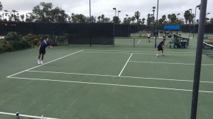 The competitive action is strong when the doubles players took court at Barnes Tennis Center (San Diego, Ca) USTA SCTA TOC