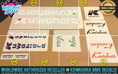 Factory Correct 1985-1986 Kuwahara Nova BMX Decal Stickers