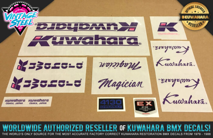 Factory Correct 1986 Kuwahara Magician BMX Decal Stickers