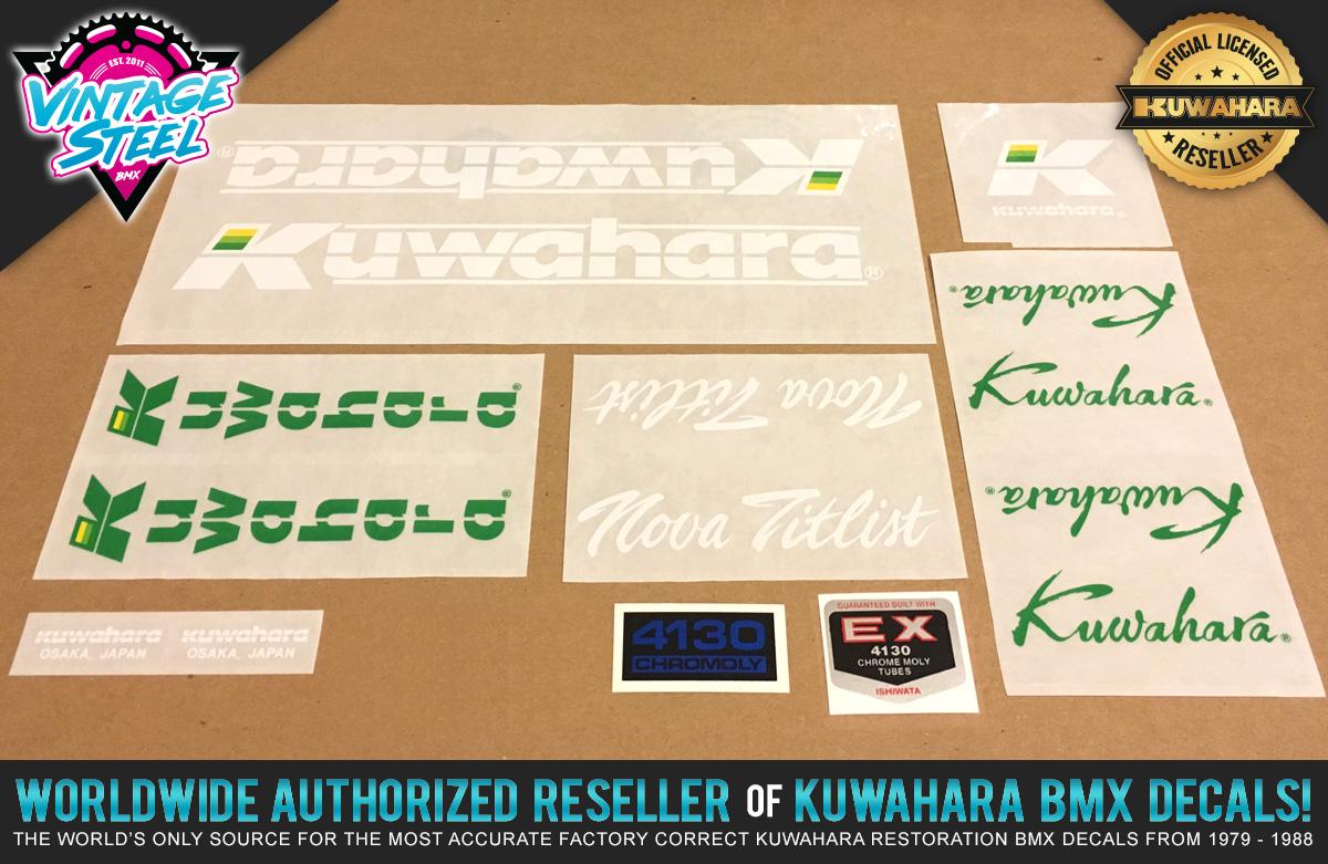 Factory Correct 1986-1987 Kuwahara Nova Titlist BMX Decal Stickers